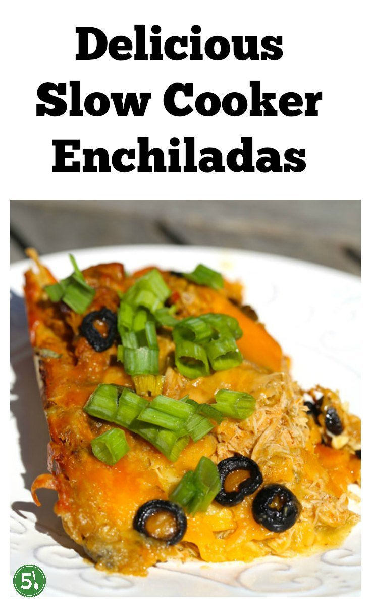 Slow cooker enchiladas recipe with chicken, green chiles, sour cream, freshly grated cheddar cheese and green enchilada sauce that is delicious and so easy to throw together for a wholesome family dinner.