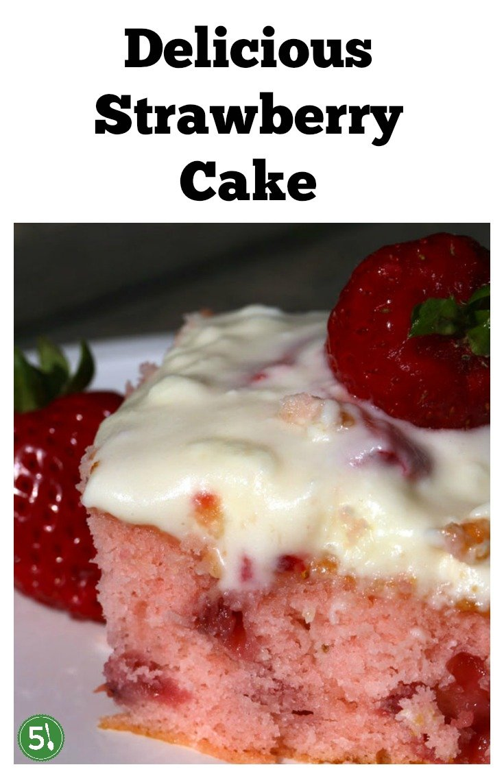 Fresh strawberry cake from scratch with jello flavoring and lemon cream cheese frosting.  Perfect homemade cake for a birthday or any other special occasion.