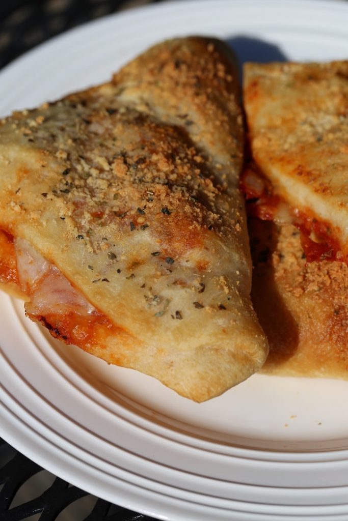 Pepperoni calzone on plate