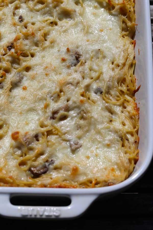 Cheesy Chicken Tetrzzini in a baking dish.