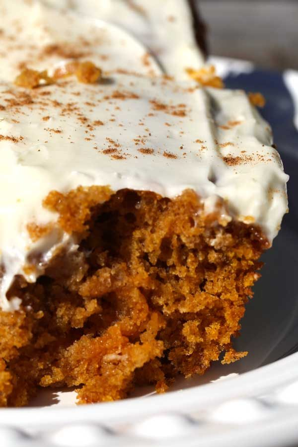 Pumpkin Spice Bars on a white plate.