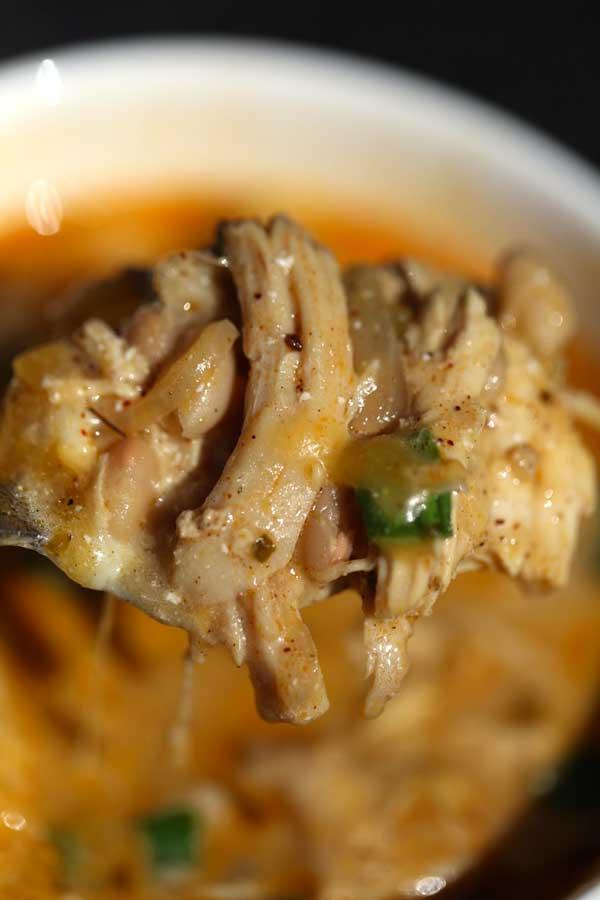 Scoop of white Bean Chicken Chili.