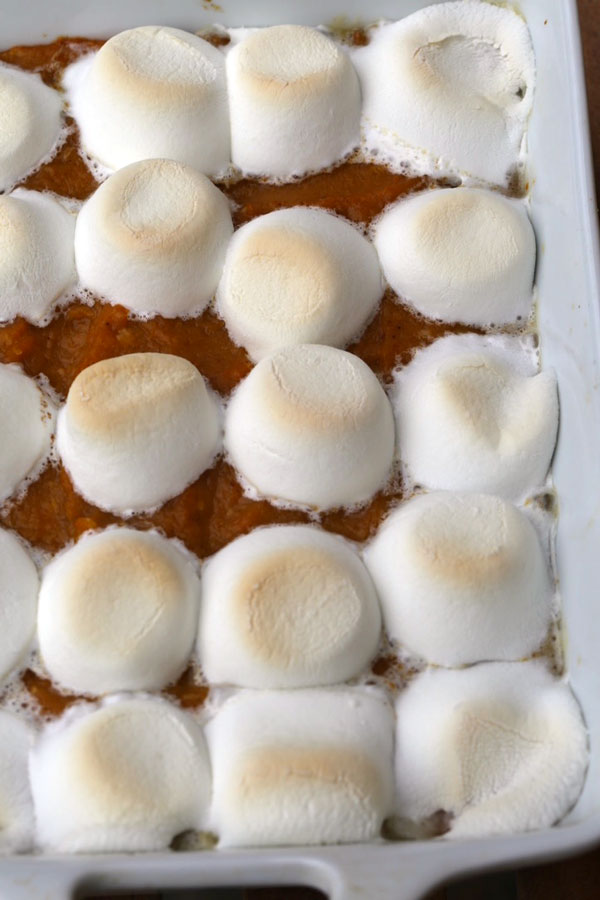 Sweet potato souffle in a baking pan.
