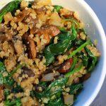 mushroom cauliflower rice with spinach
