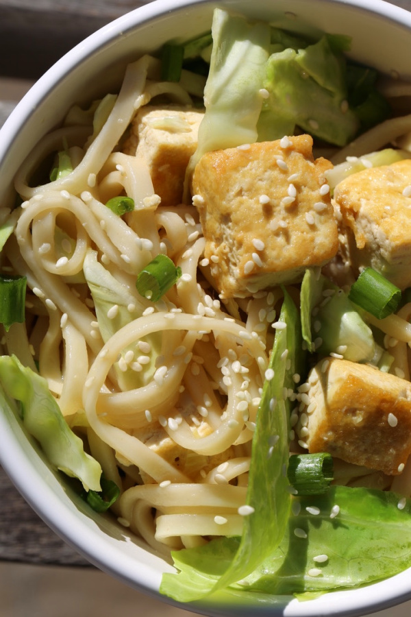 Tofu pasta with udon noodles and cabbage in a white bowl.
